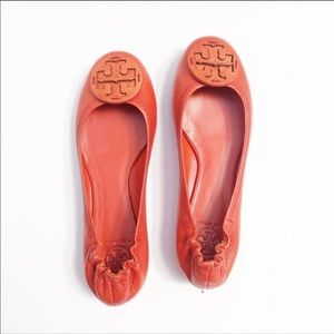 Tory Burch Orange/Red Leather Flats